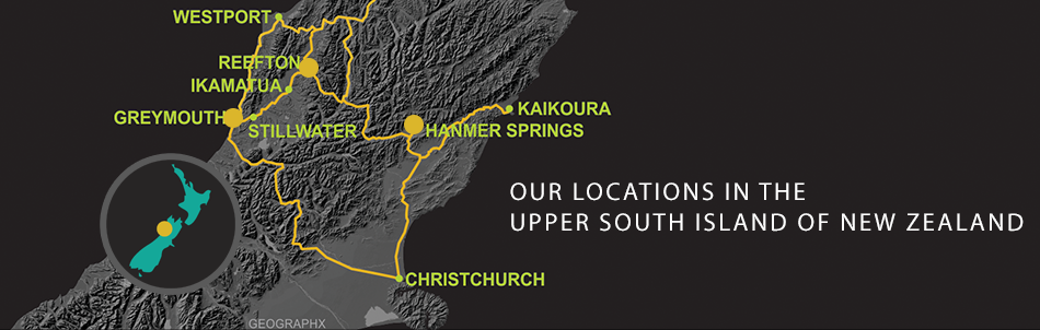 West Coast Location Map Upper SI showing Greymouth and Hanmer Springs pickup points and Reefton base.